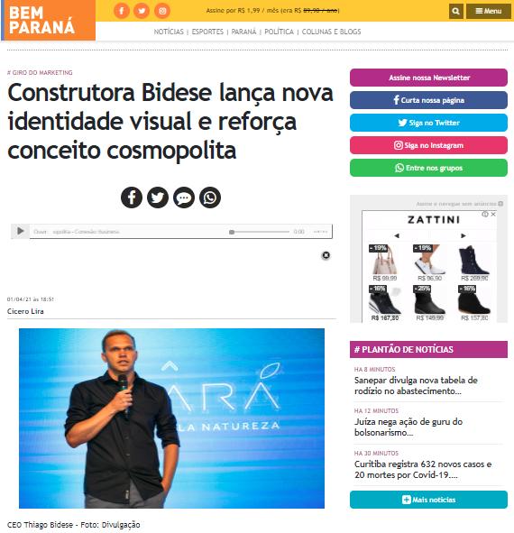 """Bem Paraná - """"Construtora Bidese lança nova identidade visual e reforça conceito cosmopolita"""""""