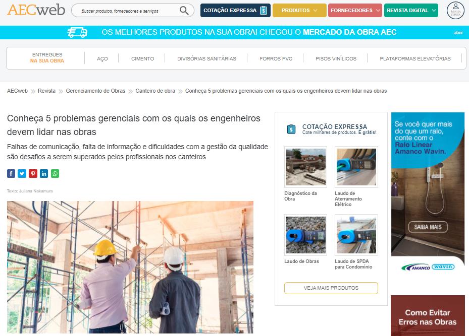 """AECweb - """"Conheça 5 problemas gerenciais com os quais os engenheiros devem lidar nas obras"""""""